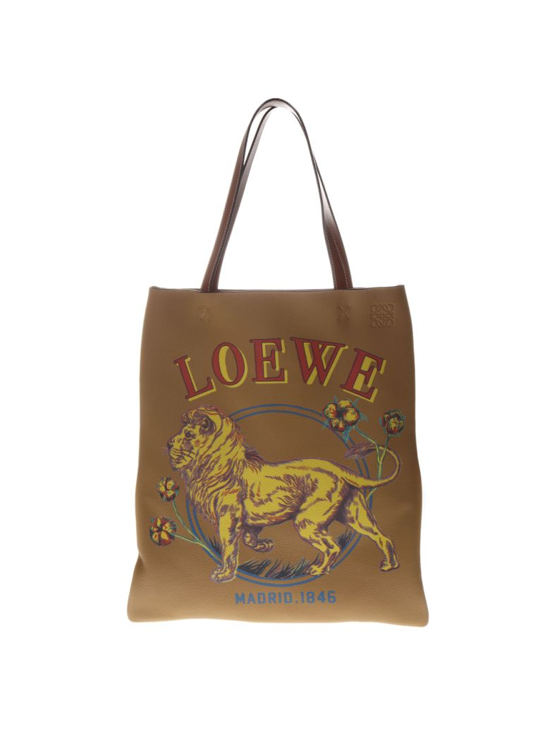 Loewe Tote Lion Desert Bag In Leather - Desert