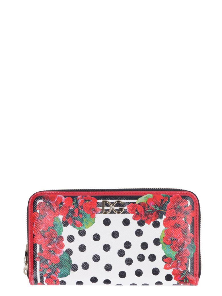 Dolce & Gabbana Printed Calf Skin Zip-around Wallet - red
