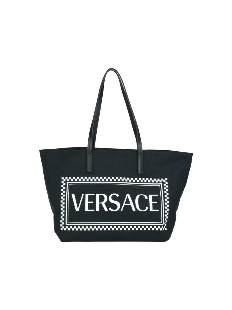50b913dadd Versace Jeans Black Logo Studded Shopper Bag
