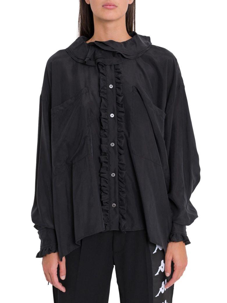 Faith Connexion Frll Silk Shirt - Nero