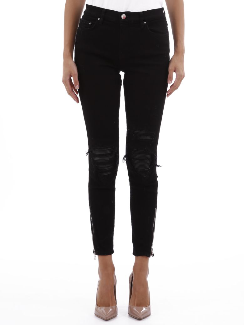 AMIRI Black Jeans With Leather Patch - Black
