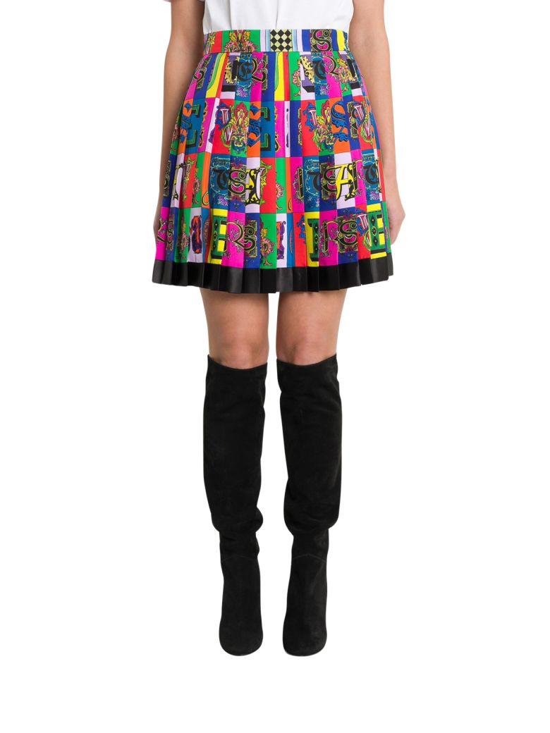 Versace Logo Print Pleated Mini Skirt - Multicolor