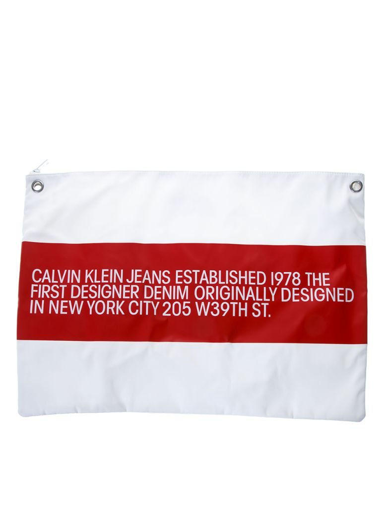 Calvin Klein Jeans Ck Jeans White Contrasting Logo Clutch - White/red