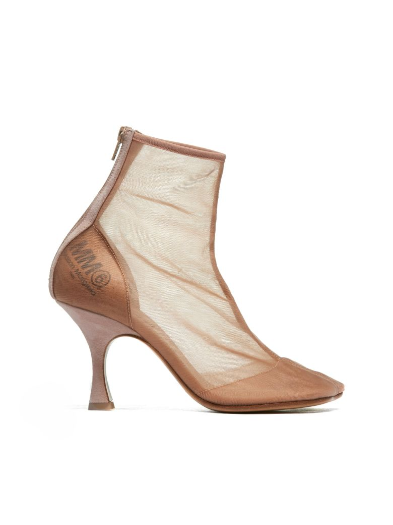 MM6 Maison Margiela Sheer Ankle Boots - Cipria