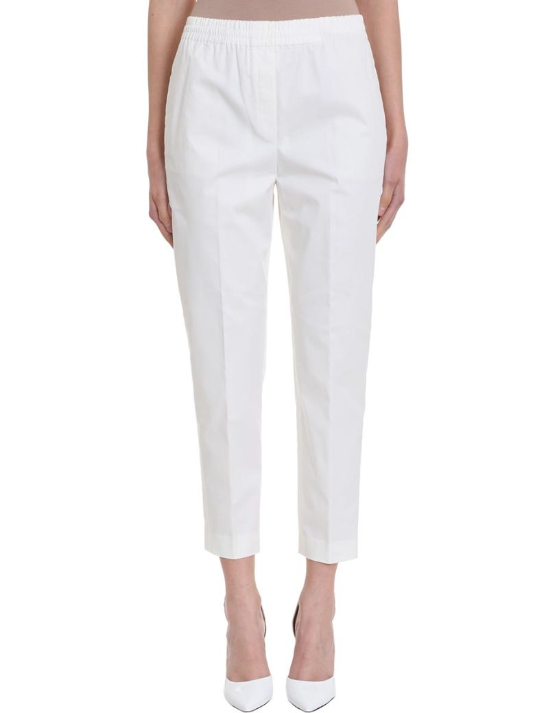 Theory Easy Trousers White Cotton  Pant - white