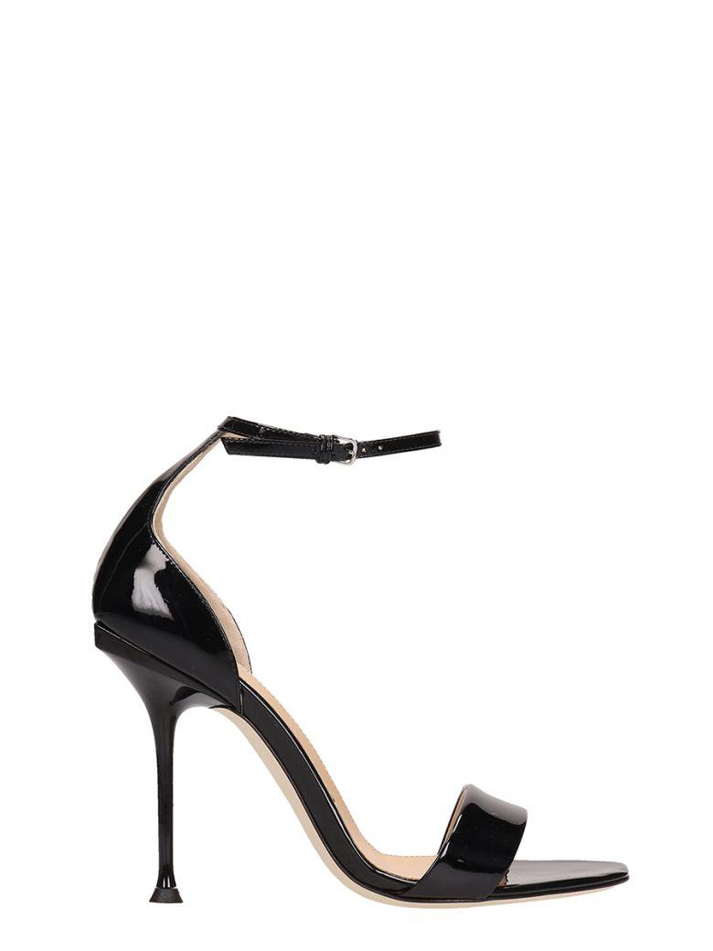 Sergio Rossi Black Patent Leather Sandals - black