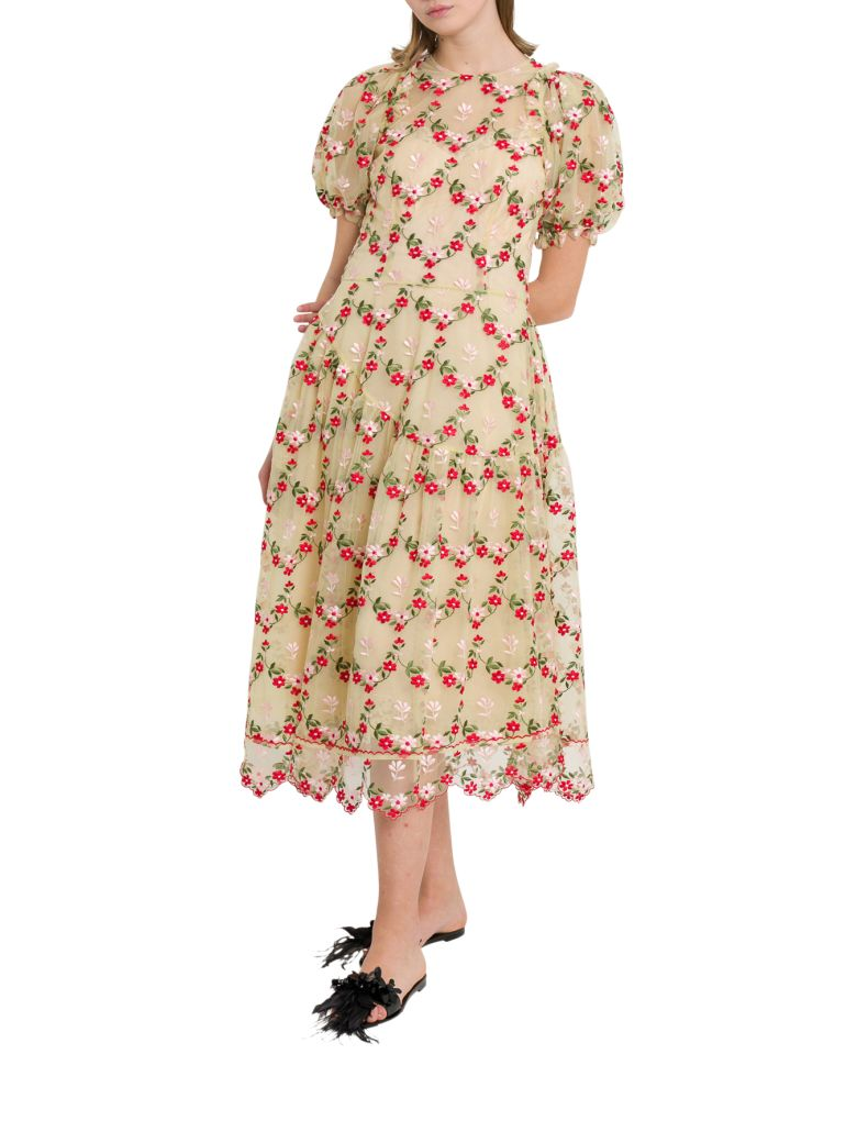 Simone Rocha Floral-embroidered Tulle Midi Dress - Panna
