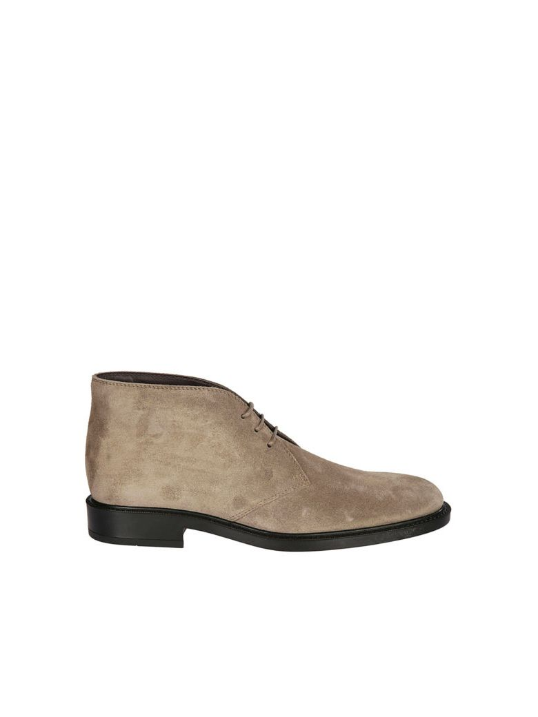 Tod's Short Ankle Boot In Suede - Beige