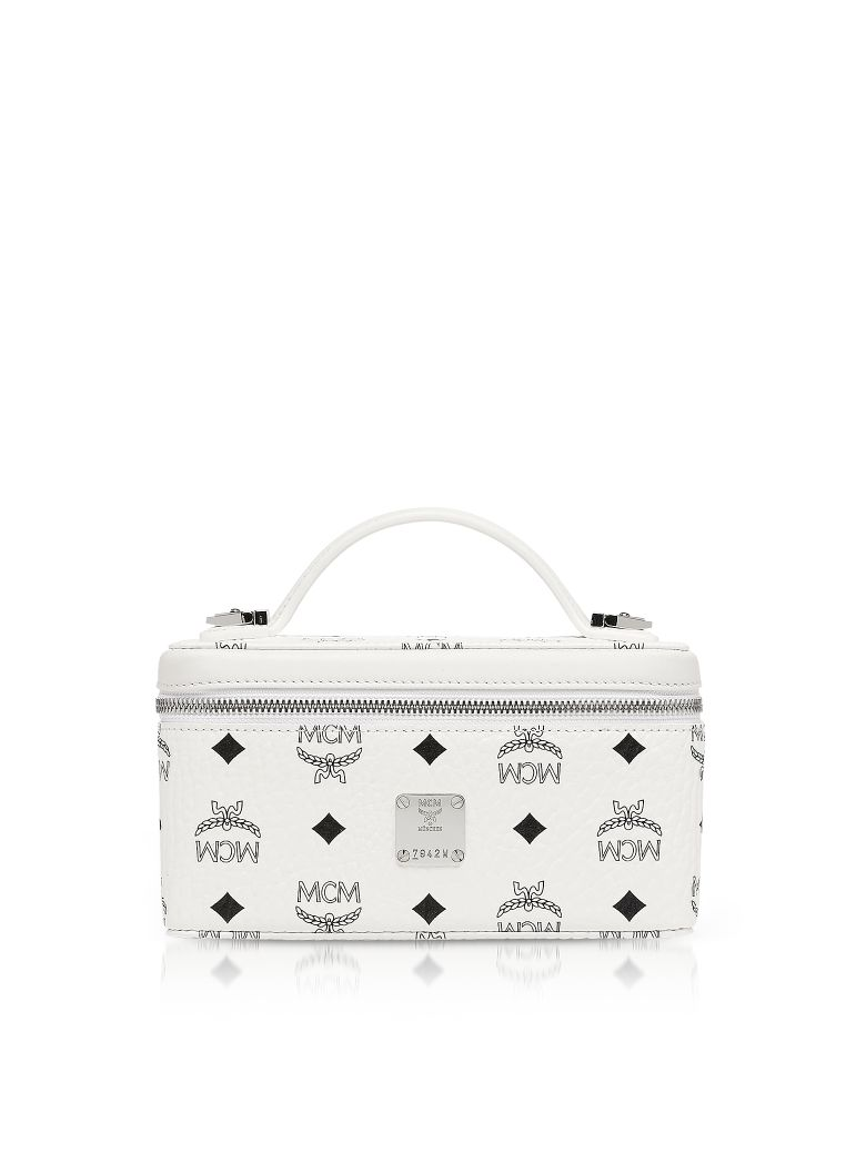 MCM Visetos Original Rockstar Vanity Case Crossbody Bag - White