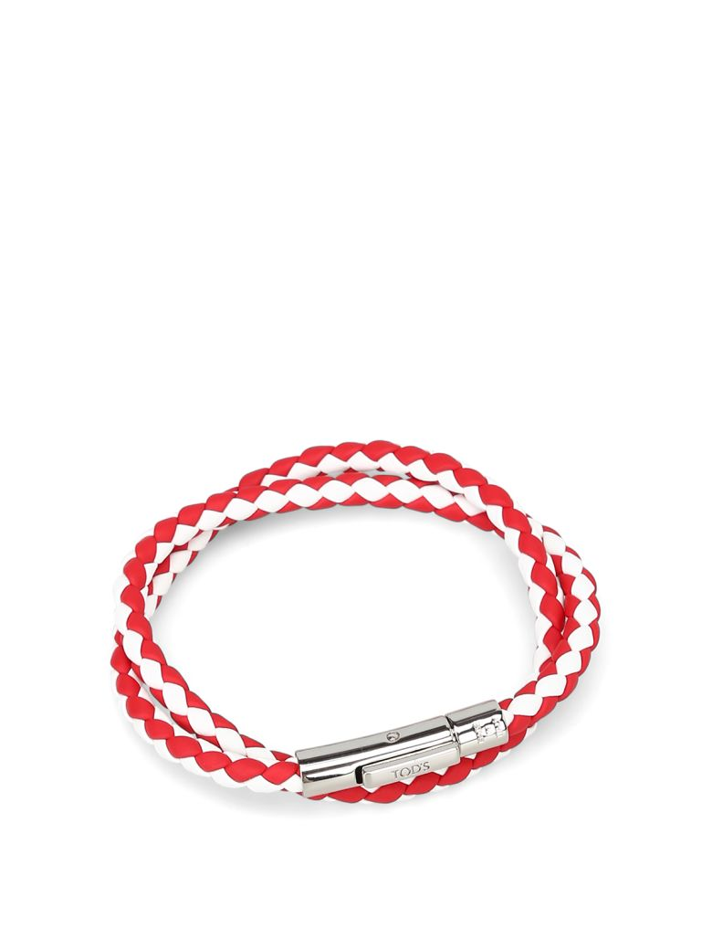 Tod's Mycolors Bracelet In Leather - White/red
