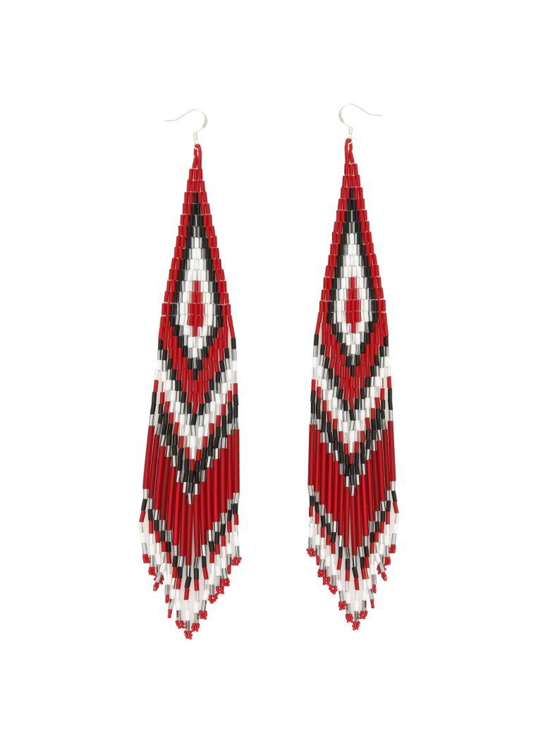 Jessie Western Zuni Chandelier Earrings - MULTICOLOR (Red)