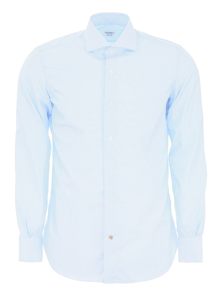 Mazzarelli Striped Shirt - RIGA STRETTA BIANCO CELESTE (Light blue)