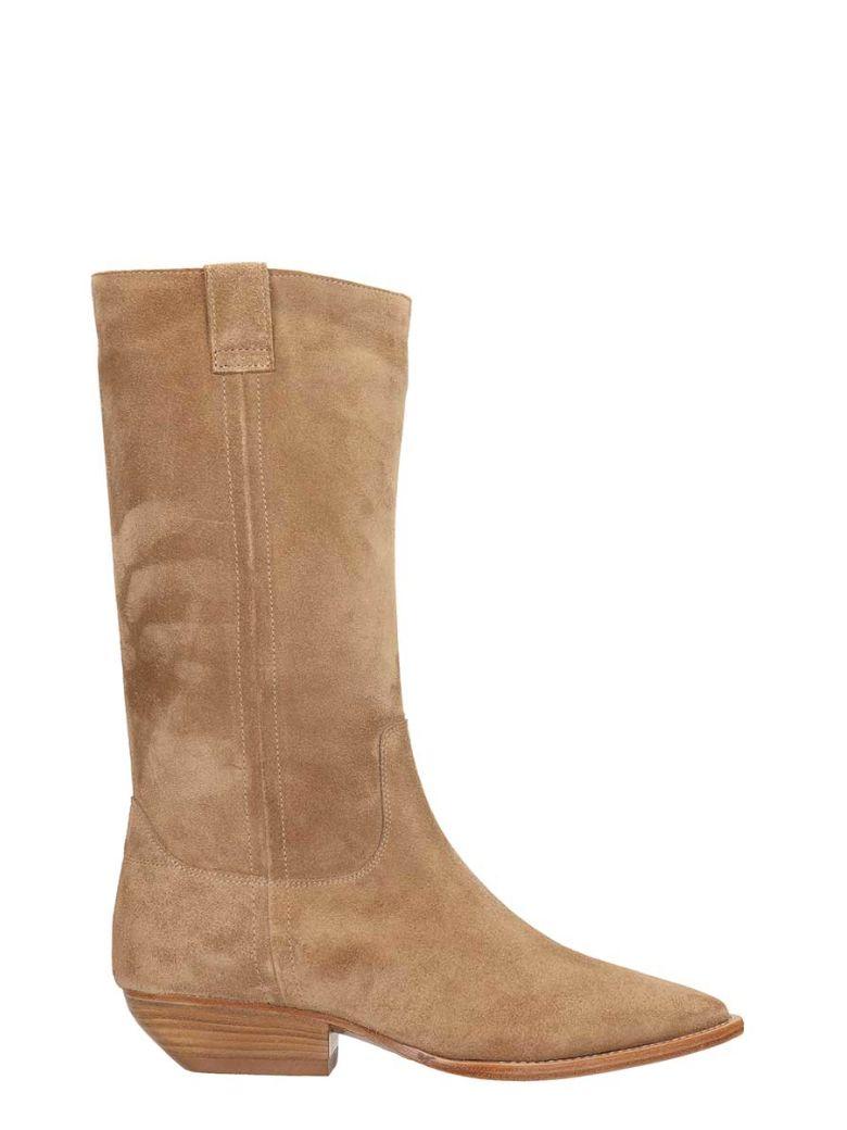 Julie Dee Beige Suede Leather Boots - Beige