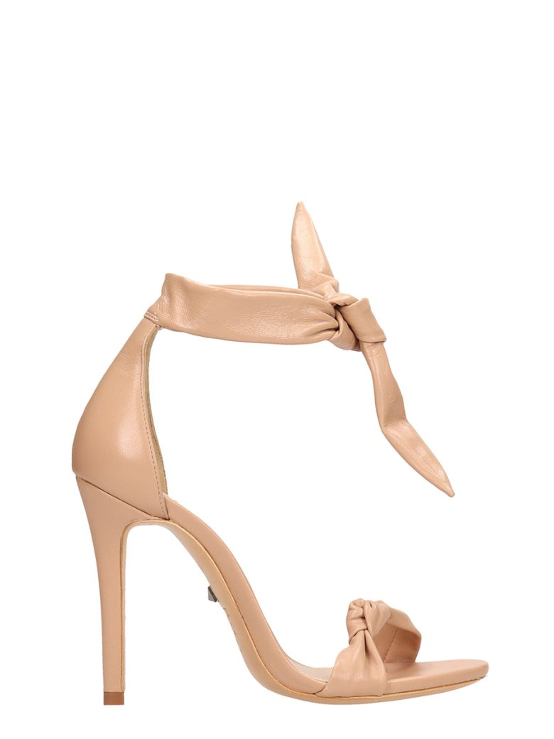 Schutz Knot Nude Calf Leather Sandals - powder