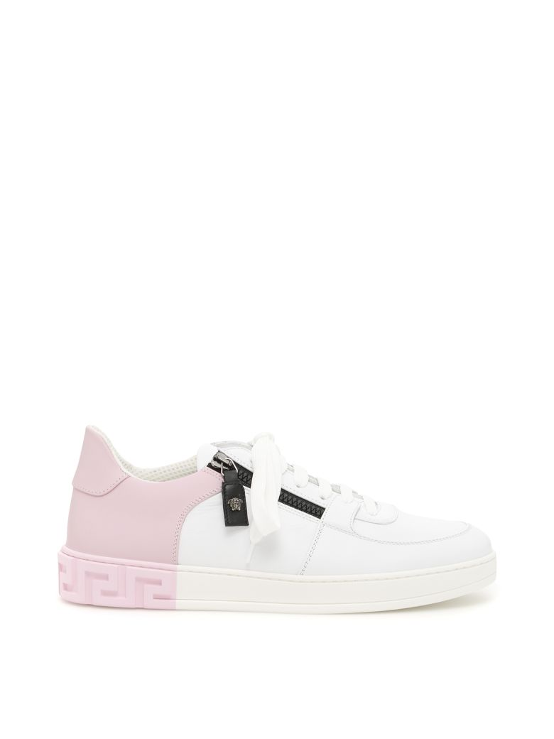 Versace Bicolor Calfskin Greek Sneakers - BIANCO NERO POWDER PINK|Bianco