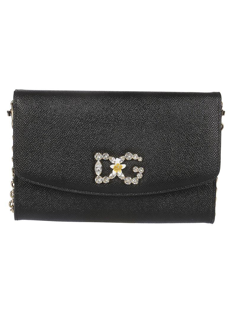 Dolce & Gabbana Embellished Dg Logo Clutch - Nero