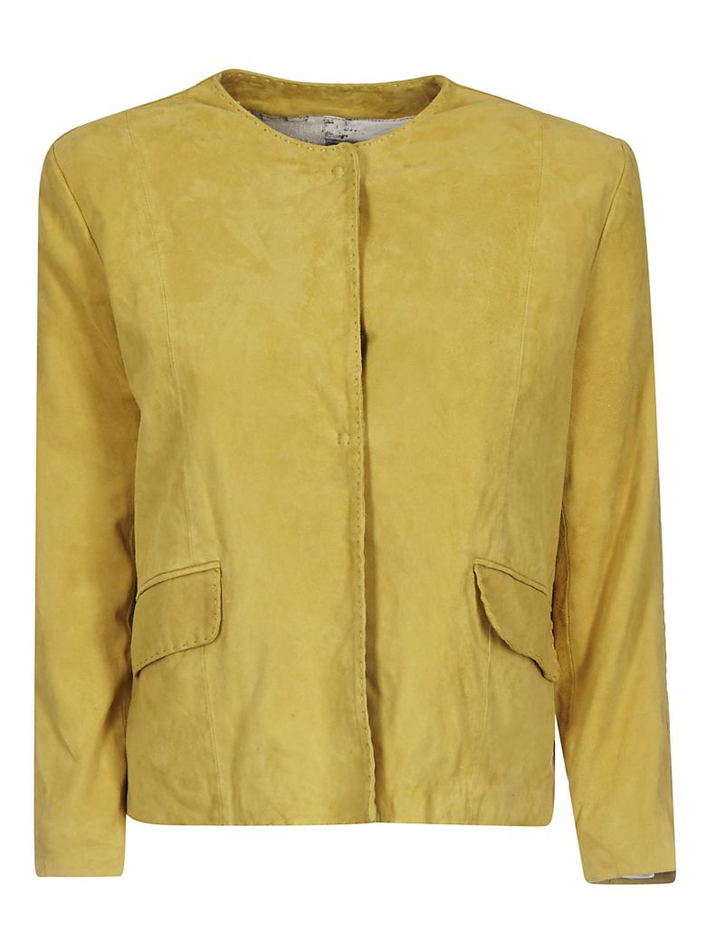 Bully Single Breasted Leather Jacket - Yellow