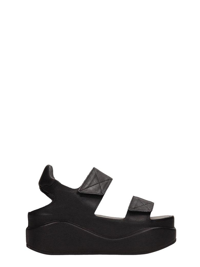 Roberto del Carlo Black Leather Platform Sandals - Black