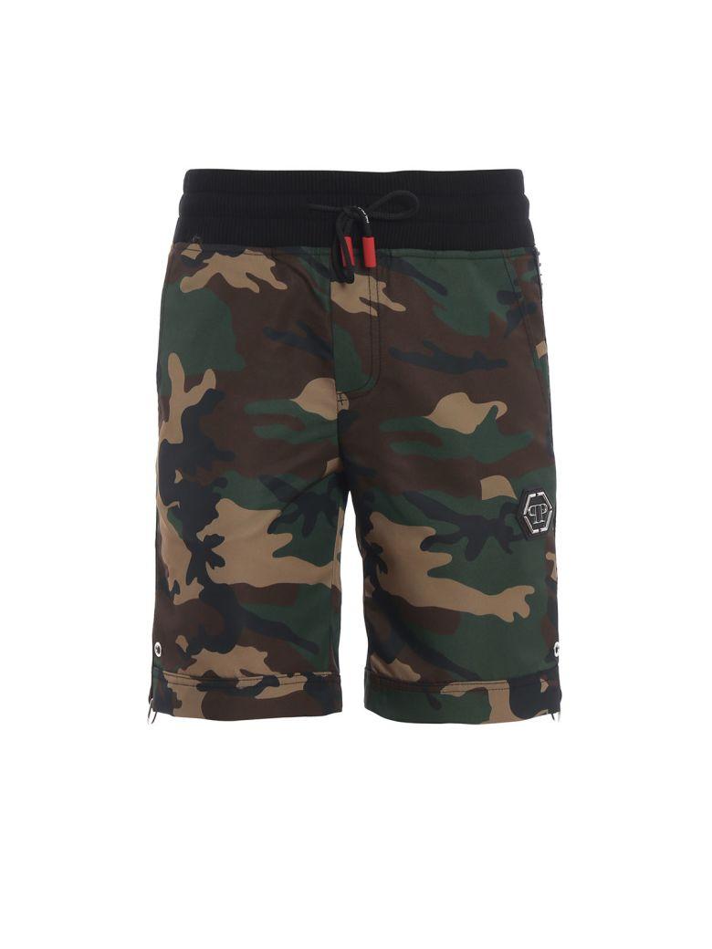 Philipp Plein Camouflage Print Shorts - Brown