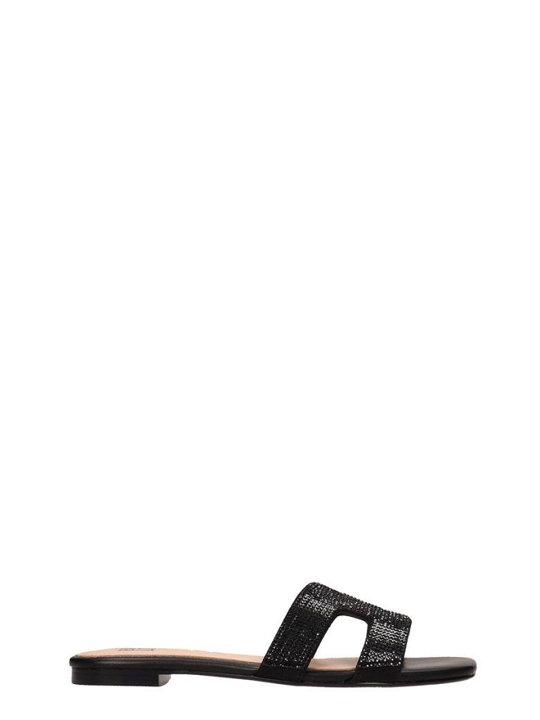 Bibi Lou Black Leather Flats Sandals - Black