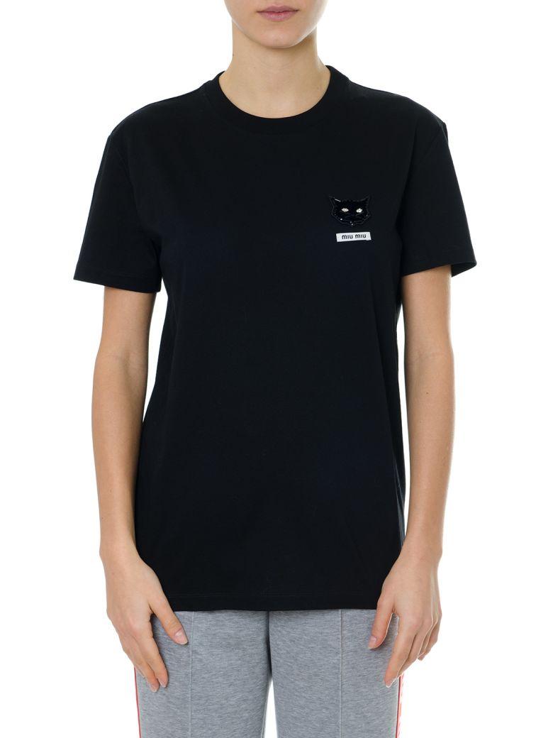Miu Miu Black T-shirt In Cotton Jersey - Black
