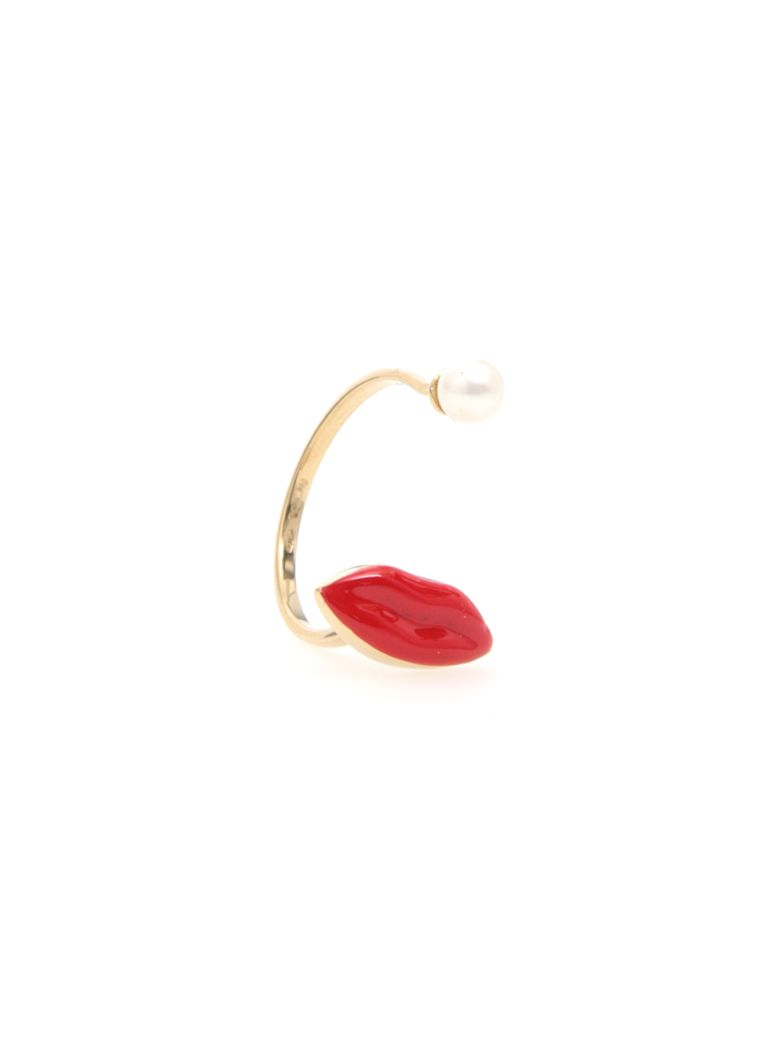 Delfina Delettrez Lips Ring 9kt Gold - RED|Rosso