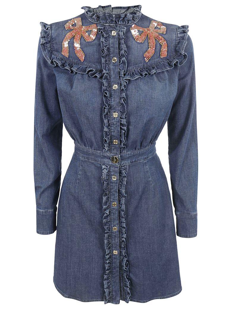 Elisabetta Franchi Celyn B. Ruffled Denim Dress - BLUE