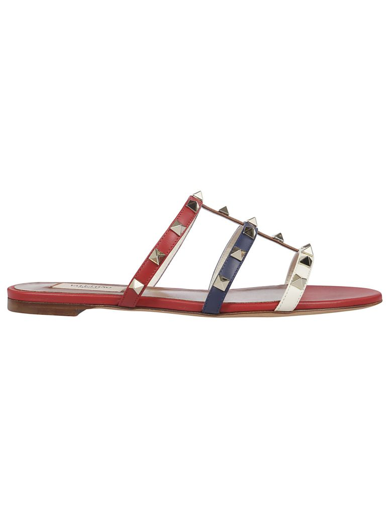 Valentino Rockstud Flat Sandals - Red Multi