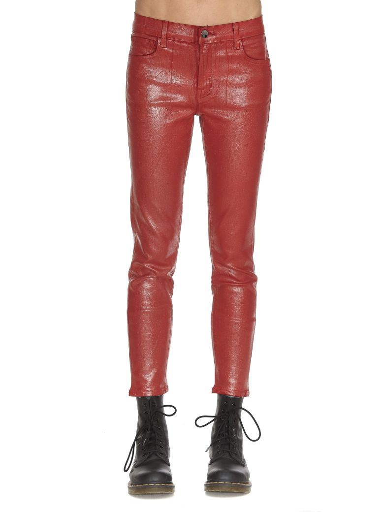 J Brand Mid Rise Crop Skinny Jeans - Red
