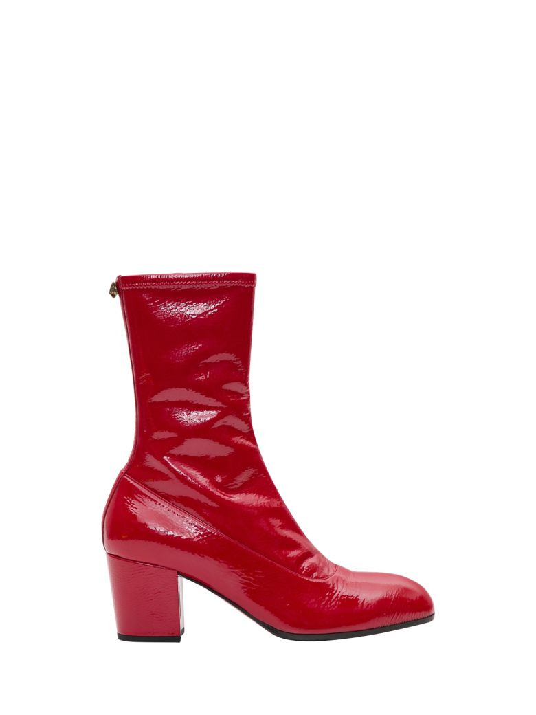 bb1141ff081 Gucci Printyl Patent Leather Zip Boot In Red