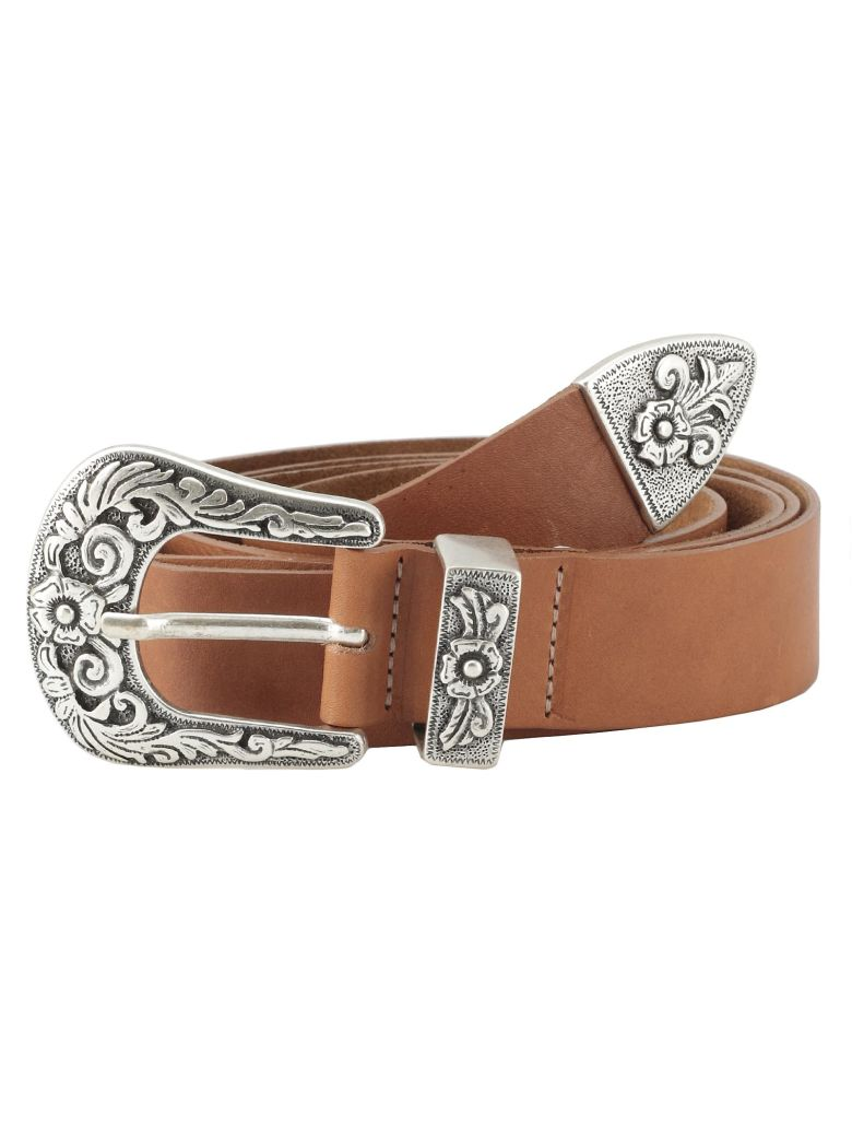 B-Low the Belt Leather Belt - Cognac- silver
