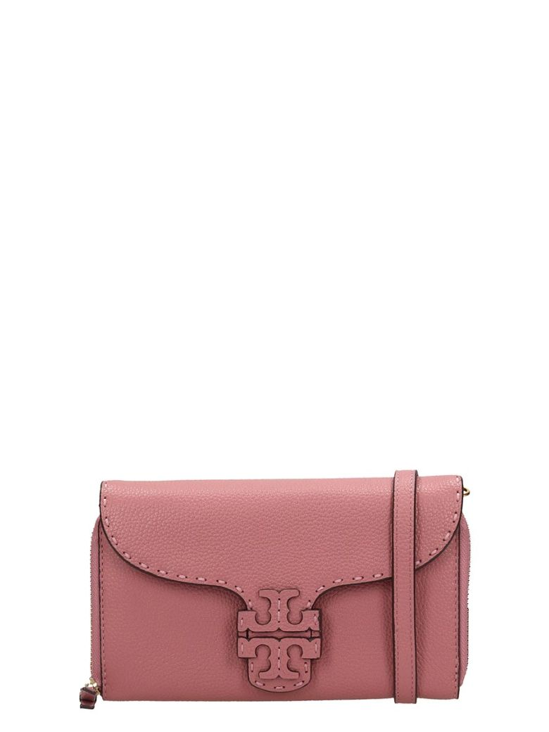 Tory Burch Mcgraw Wallet Clutch In Rose-pink Leather - rose-pink