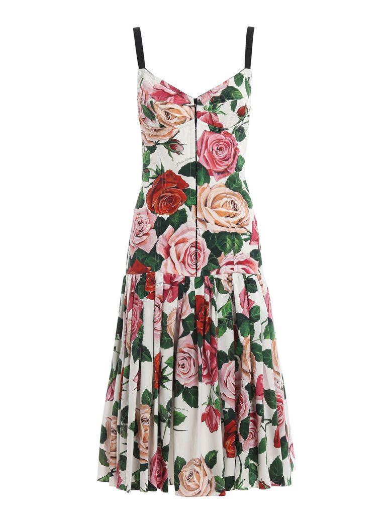 Dolce & Gabbana Floral Midi Dress - Mix Rose Fdo Bco Nat