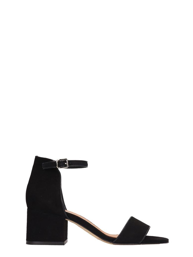 Julie Dee Black Suede Sandals - Black