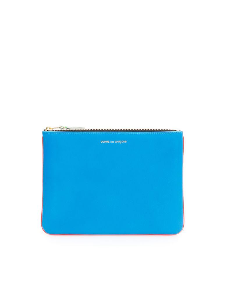 Comme des Garçons Wallet Unisex Super Fluo Pouch - ORANGE BLUE|Blu