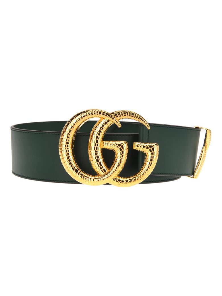 Gucci Gucci Gg Leather Belt - VINTAGE GREEN + GOLD