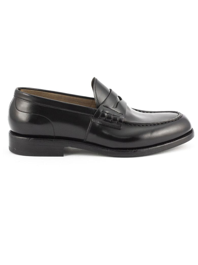 Green George Black Polished Leather Loafer - Nero