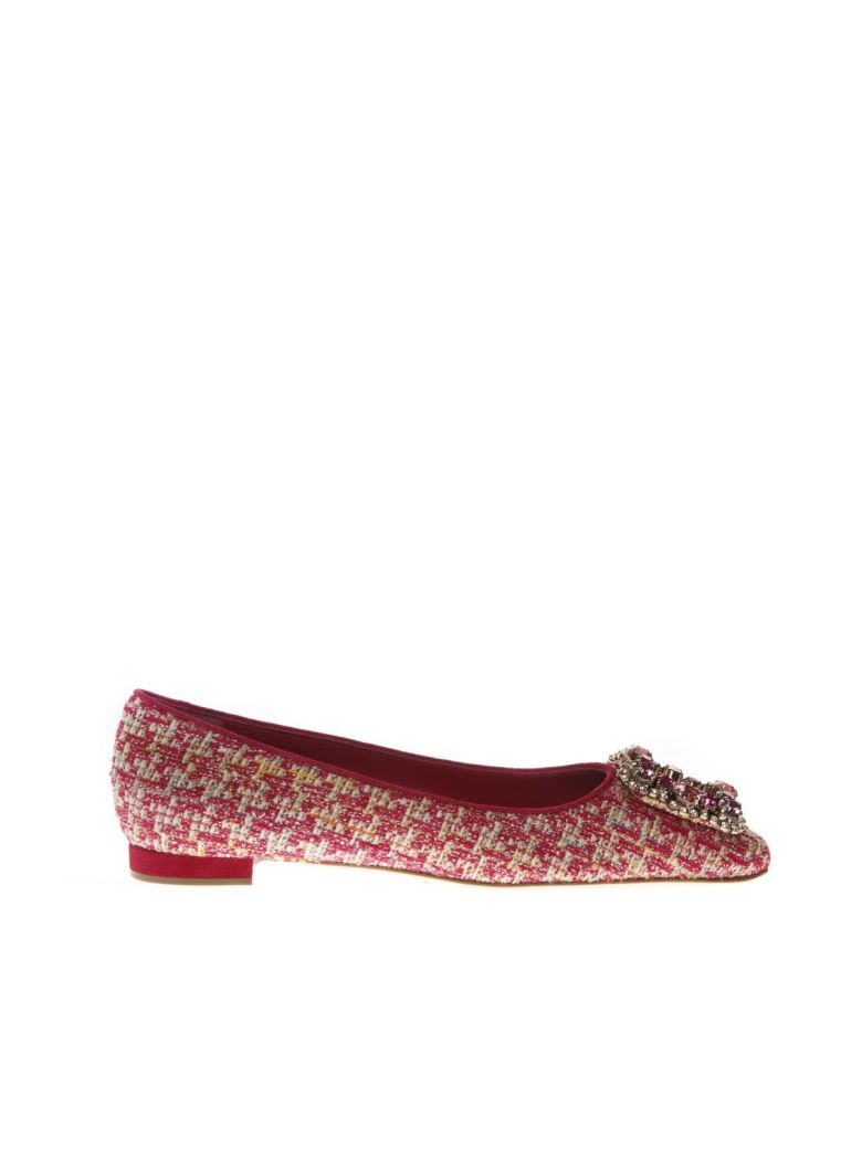 Manolo Blahnik Caza Pink Wool & Suede Slippers Shoes - Pink