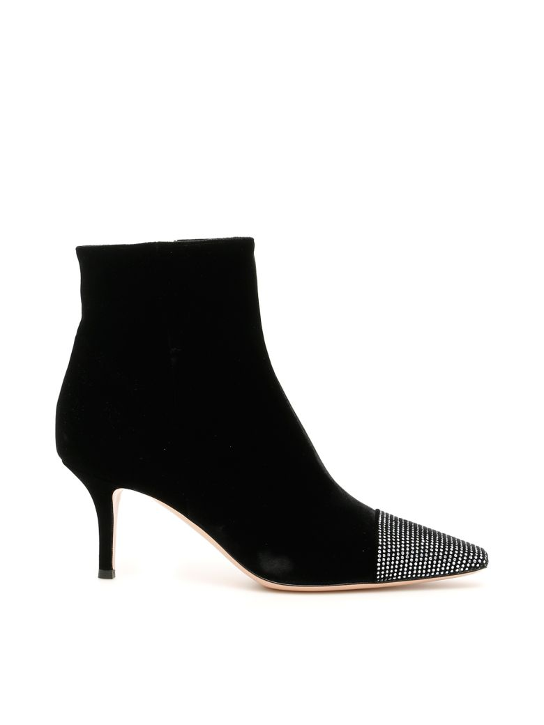 Gianvito Rossi Crystal Velvet Booties - BLACK CRYSTAL (Black)