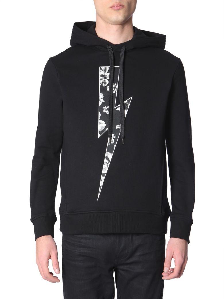 Neil Barrett Flower Bolt Printed Sweatshirt - NERO