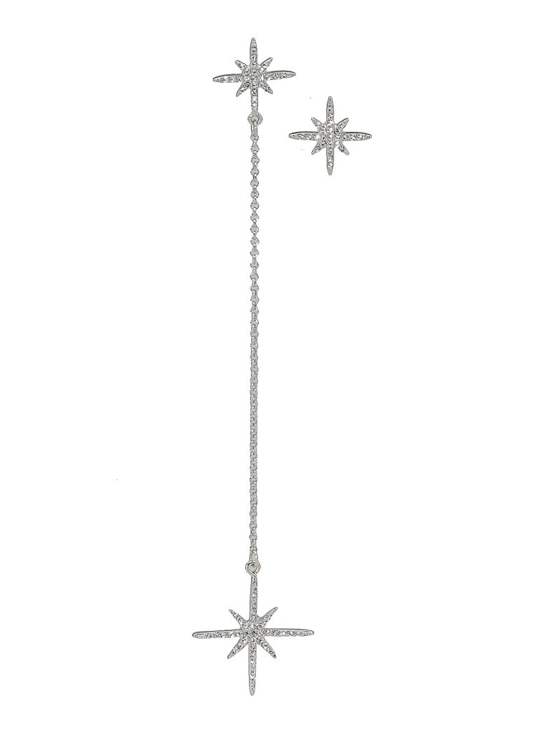Federica Tosi Long Star Earrings - SILVER PLATED STRASS