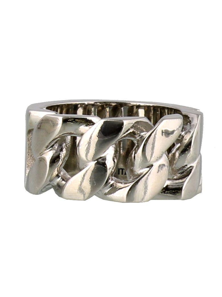 Alexander McQueen Identity Chain Ring - Silver