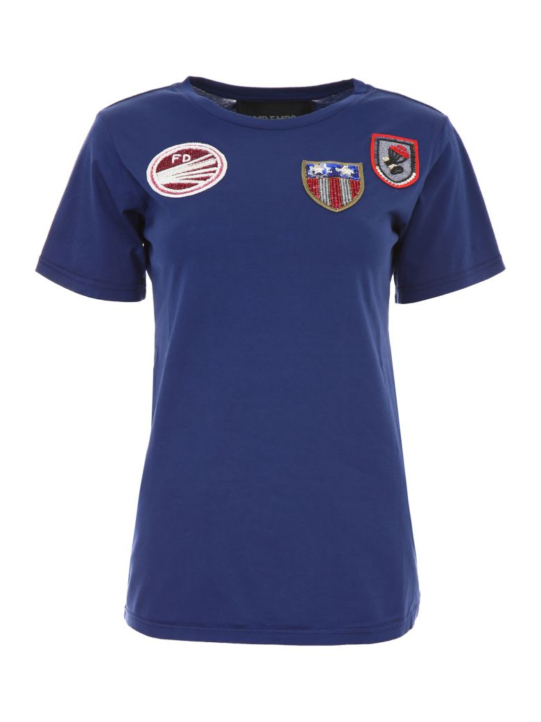 Mr & Mrs Italy T-shirt With Patches - BLEU FRANCE|Blu
