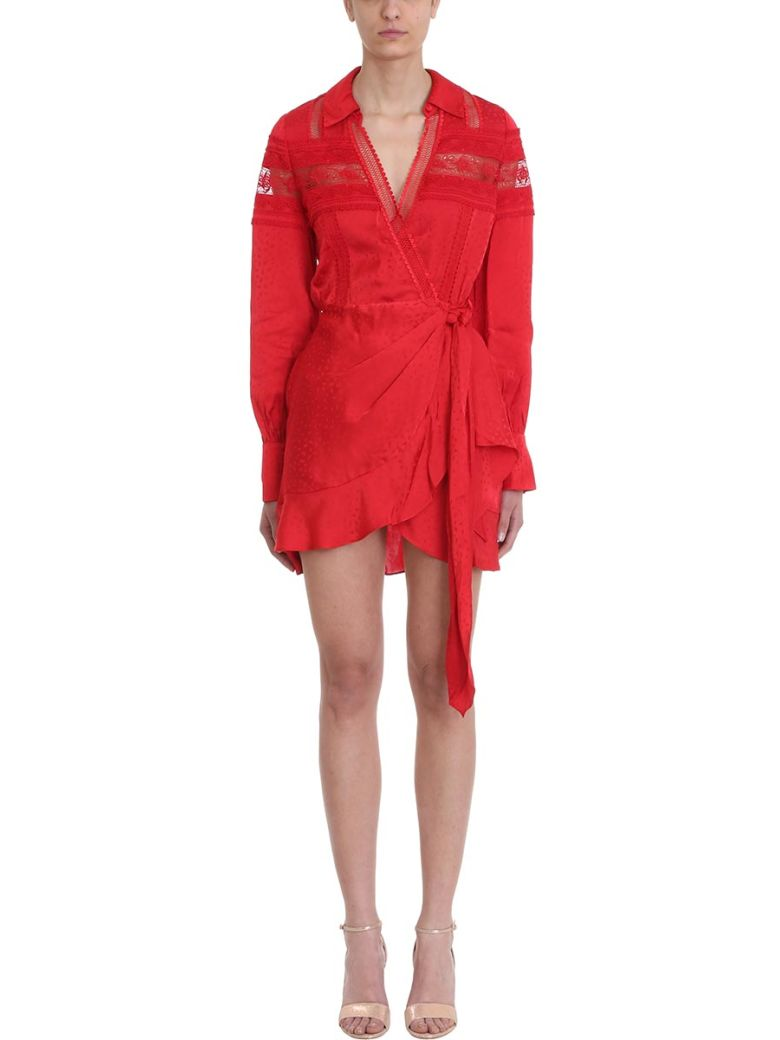 self-portrait Long-sleeve Red Lace Wrap Dress - red