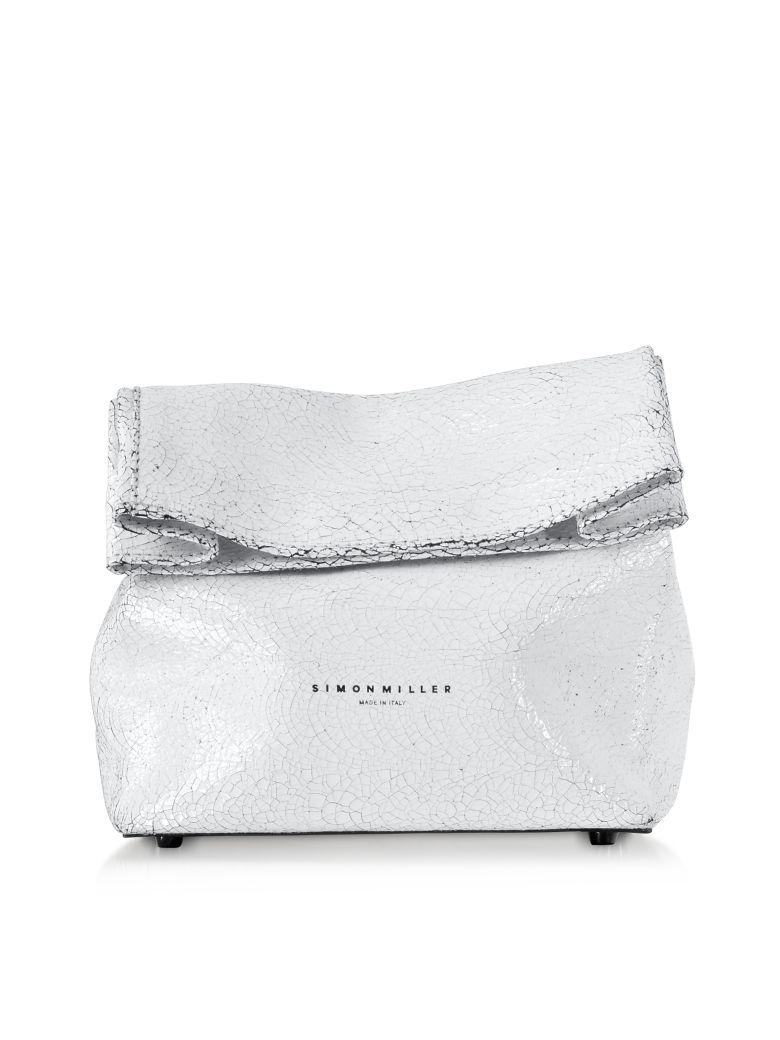 Simon Miller S809 White Crackle Leather 20 Cm Lunch Bag - White