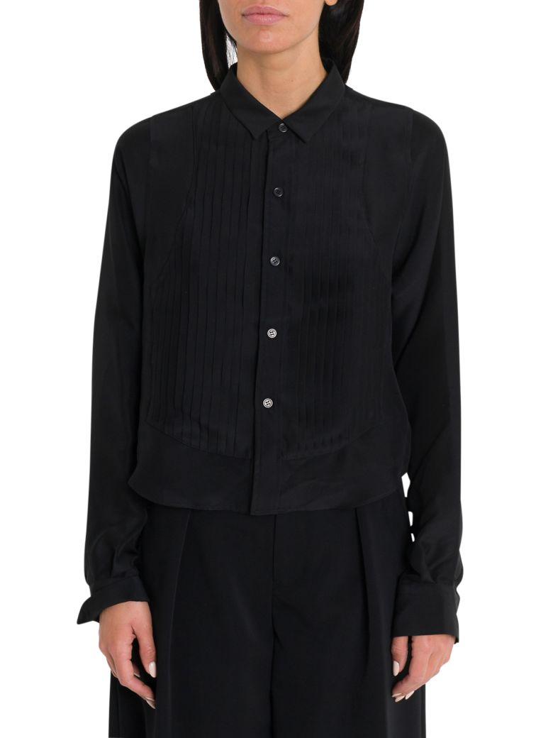 Noir Kei Ninomiya Silk Georgette Shirt With Plissé On Front - Black
