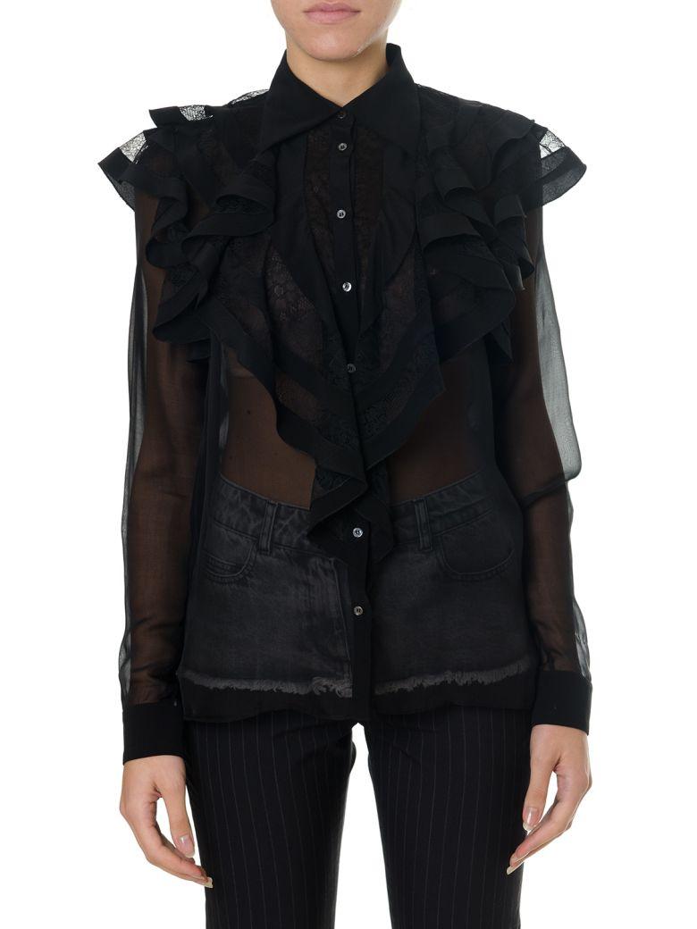 Faith Connexion Black Silk Shirt With Flounces - Black