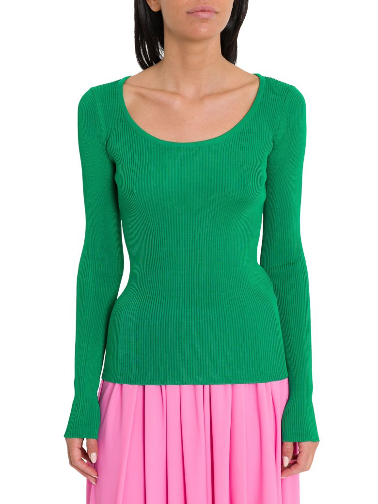 MSGM Ribbed Long Sleeve Tee - Green