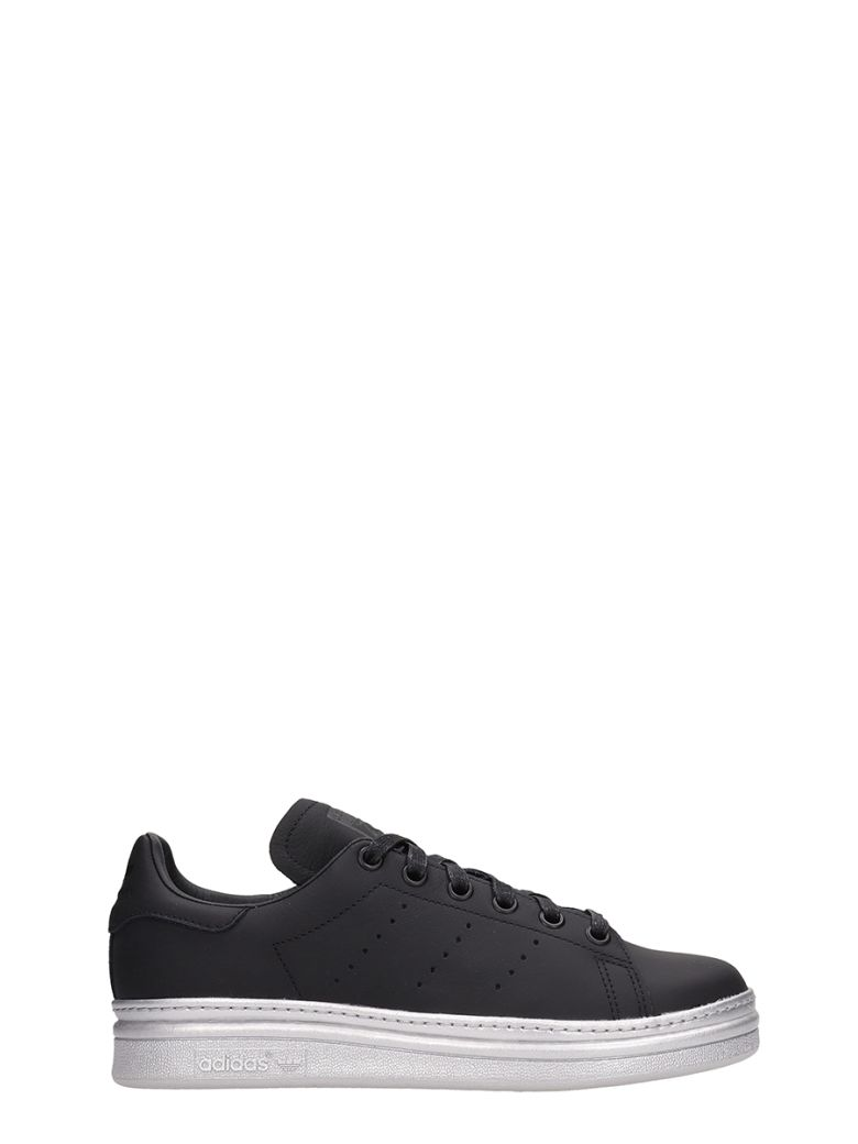 Adidas Black Leather Stan Smith New Bold Sneakers - black