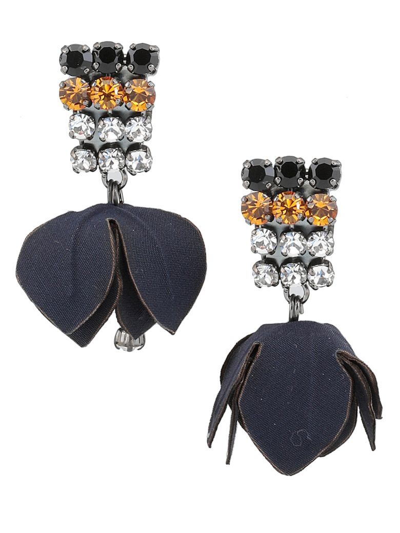 Marni Earrings With Flowers And Strass - BLACK